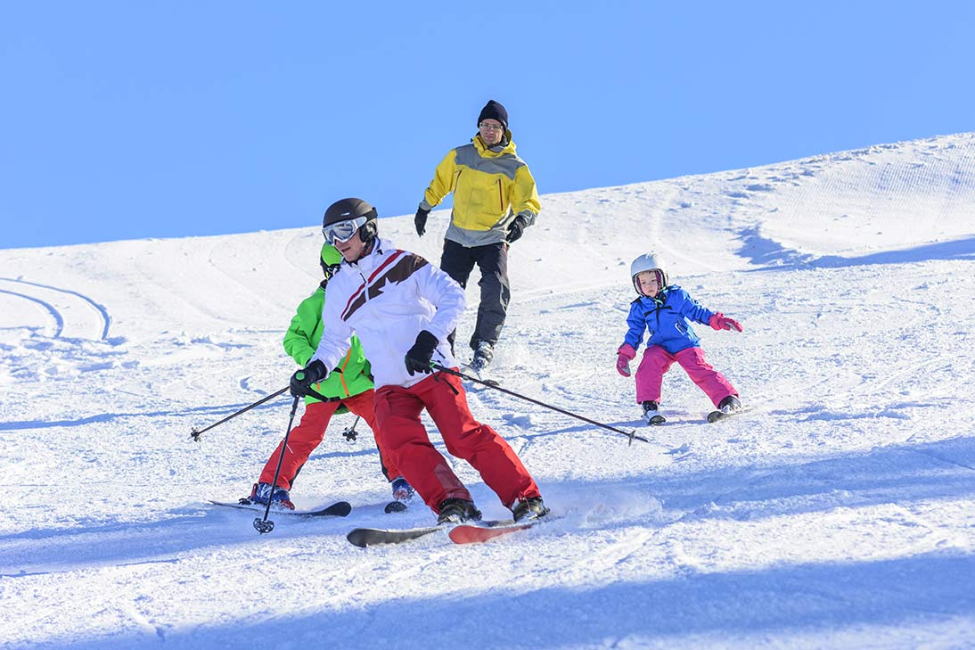 family skiing on Morzine mountain